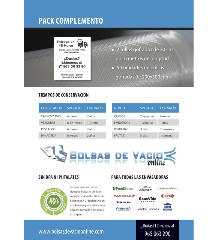 PACK COMPLEMENTO: 2 Vacuum Pouch/Bag Rolls and 50 vacuum pouches