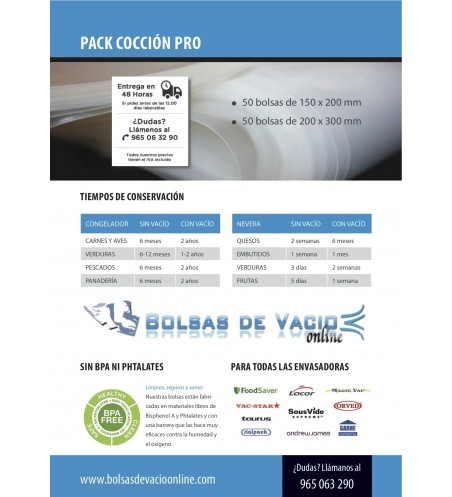 Boilable Vacuum Bags/Pouches 121°C CUISSON PACK
